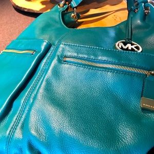 Large leather teal Micheal Kors purse